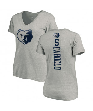 Memphis Grizzlies Women's Memphis GrizzliesBruno Caboclo Heathered Gray One Color Backer V-Neck T-Shirt